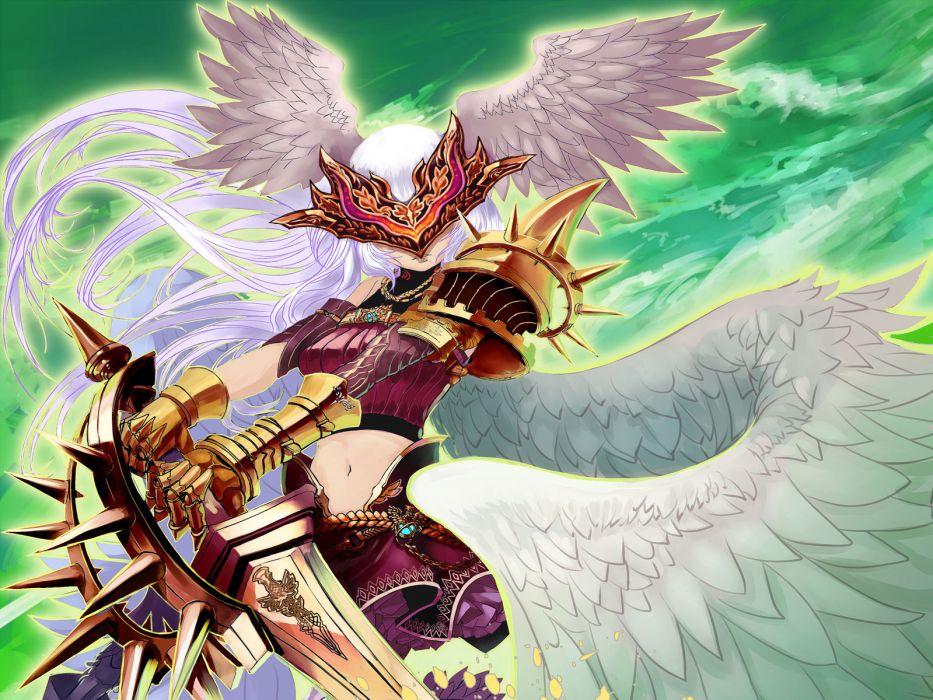 Angels Swords Armor Fantasy Girls angel sword warrior weapon wallpaper