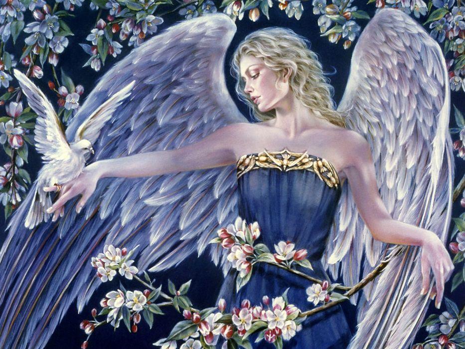 Angels Fantasy Girls angel girl dove bird doves mood wallpaper