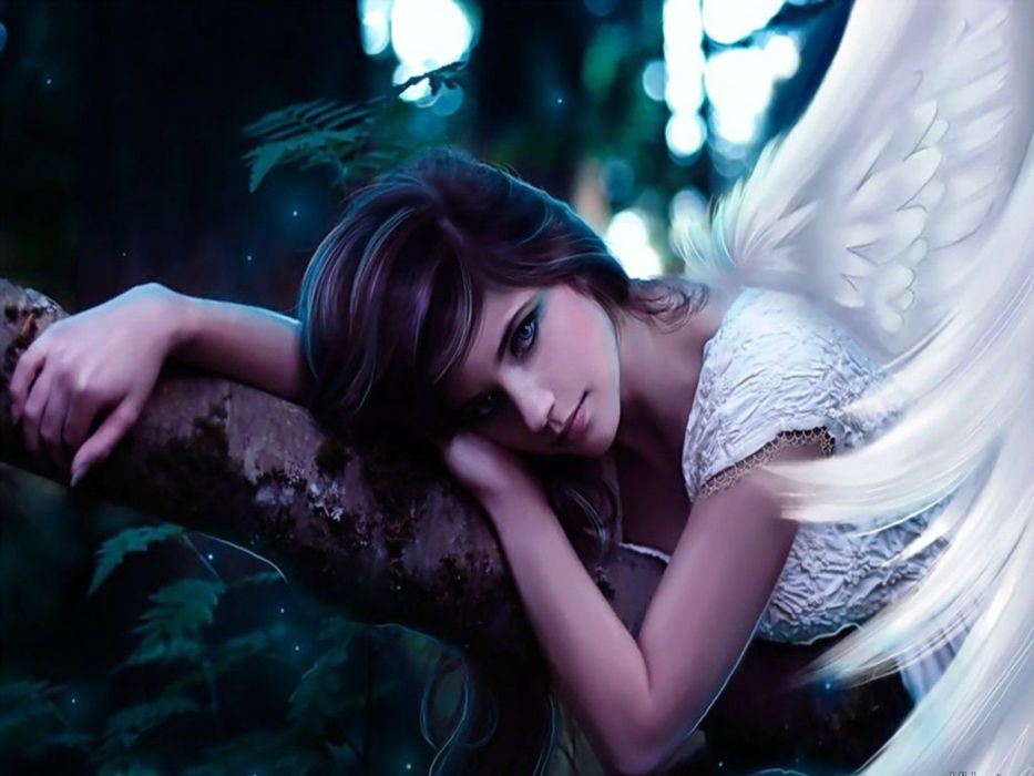 Angels Fantasy Girls girl angel mood wallpaper