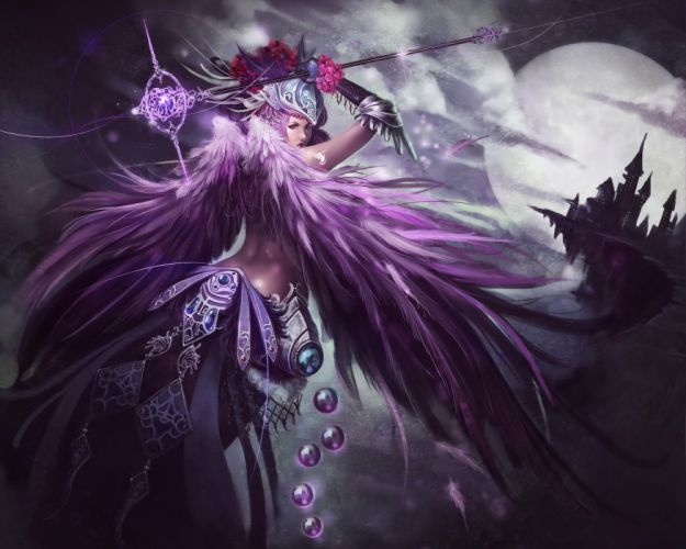 Angels Mage Staff Armor Fantasy Girls angel gothic night wallpaper