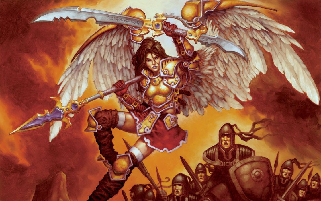 Angels Spear Armor Fantasy Girls angel warrior warriors weapon wallpaper
