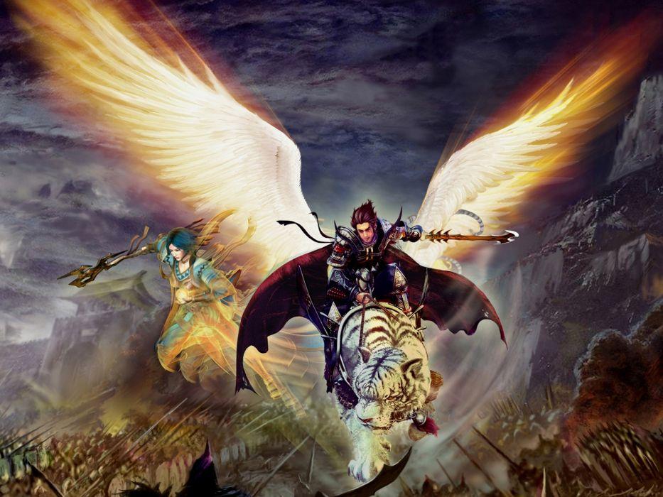 Angels Wings Fantasy angel tiger tigers armor magic wallpaper