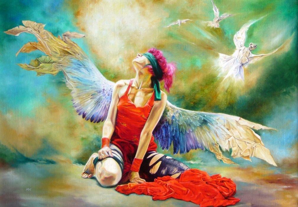Angels Wings Fantasy angel mood wings painting emo gothic wallpaper