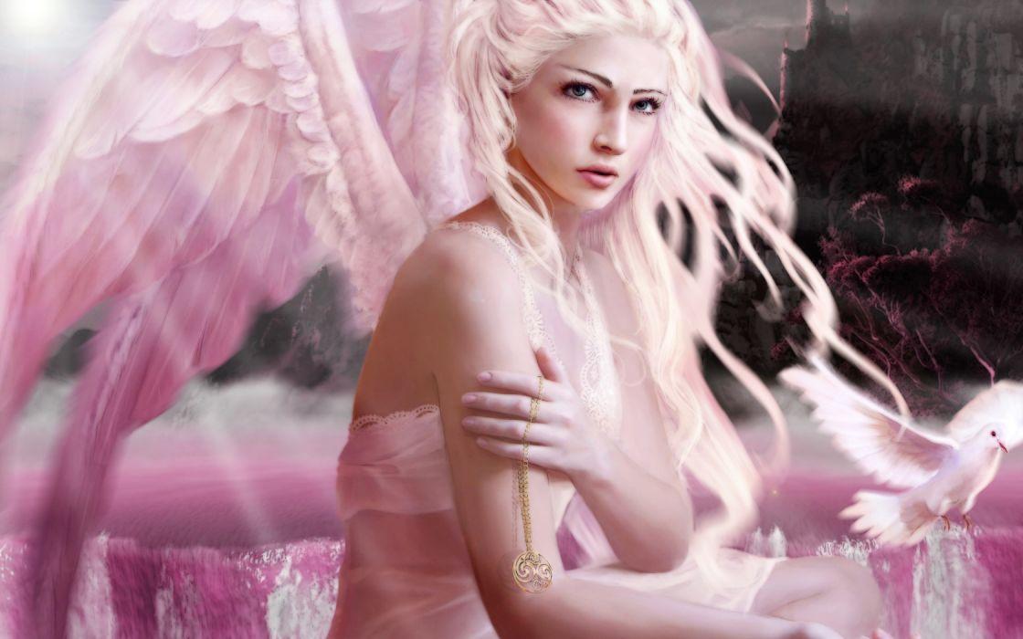 Angels Wings Fantasy Girls angel dove mood wallpaper