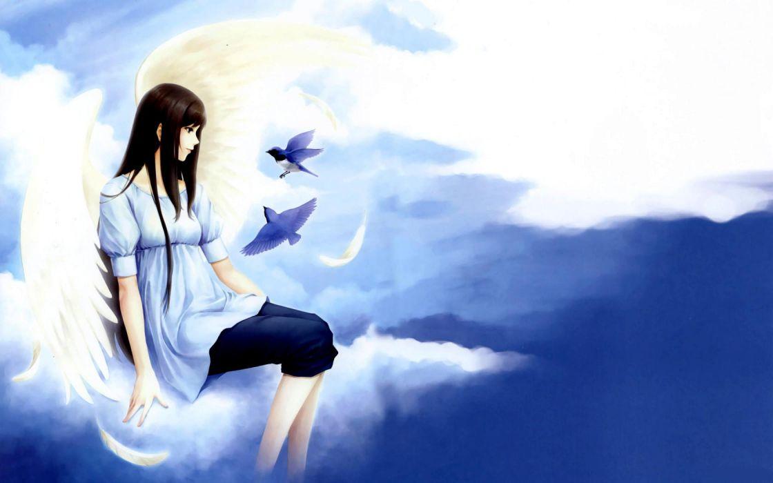 original Angels Wings Fantasy Girls angel girl sky clouds wallpaper