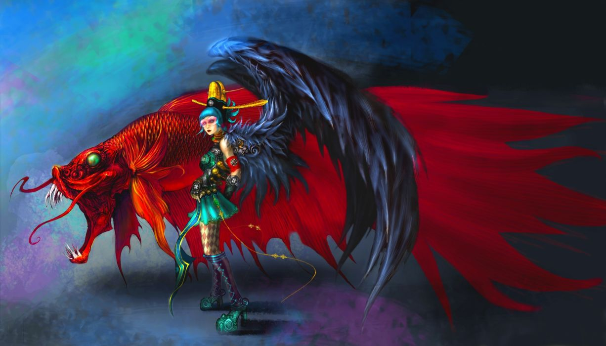 Supernatural beings Angels Wings Fantasy angel gothic punk wallpaper