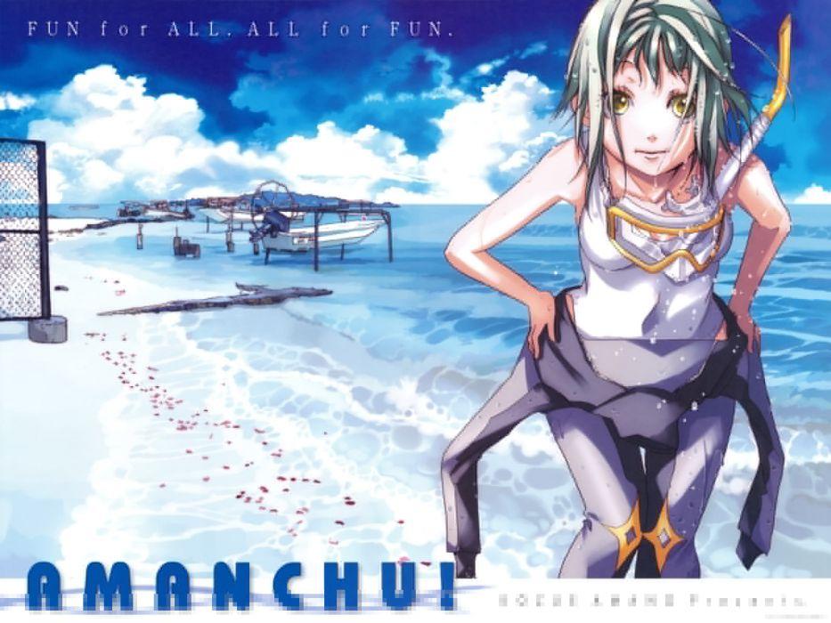 amanchu! amano kozue beach kohinata hikari swimsuit wallpaper