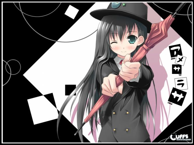 amesarasa black hair blush chiyokawa rin cuffs green eyes hat kantoku long hair umbrella wink wallpaper