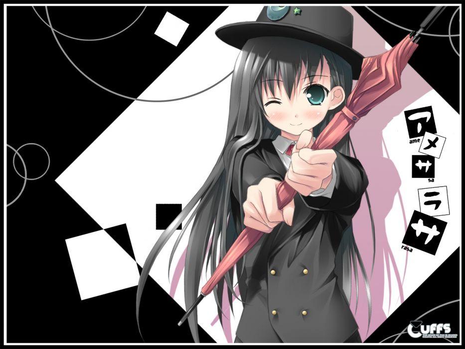 amesarasa black hair blush chiyokawa rin cuffs green eyes hat kantoku long hair umbrella wink wallpaper