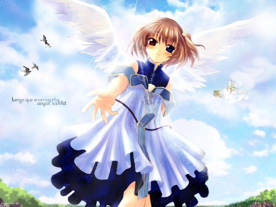 angel rabbie angelic serenade bicolored eyes lasty farson naruse chisato wings wallpaper