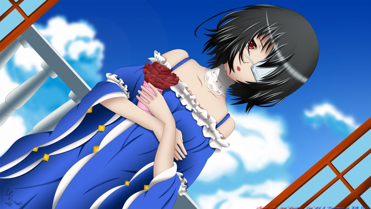 another black hair eyepatch misaki mei miyazaki rei red eyes short hair signed sky wallpaper