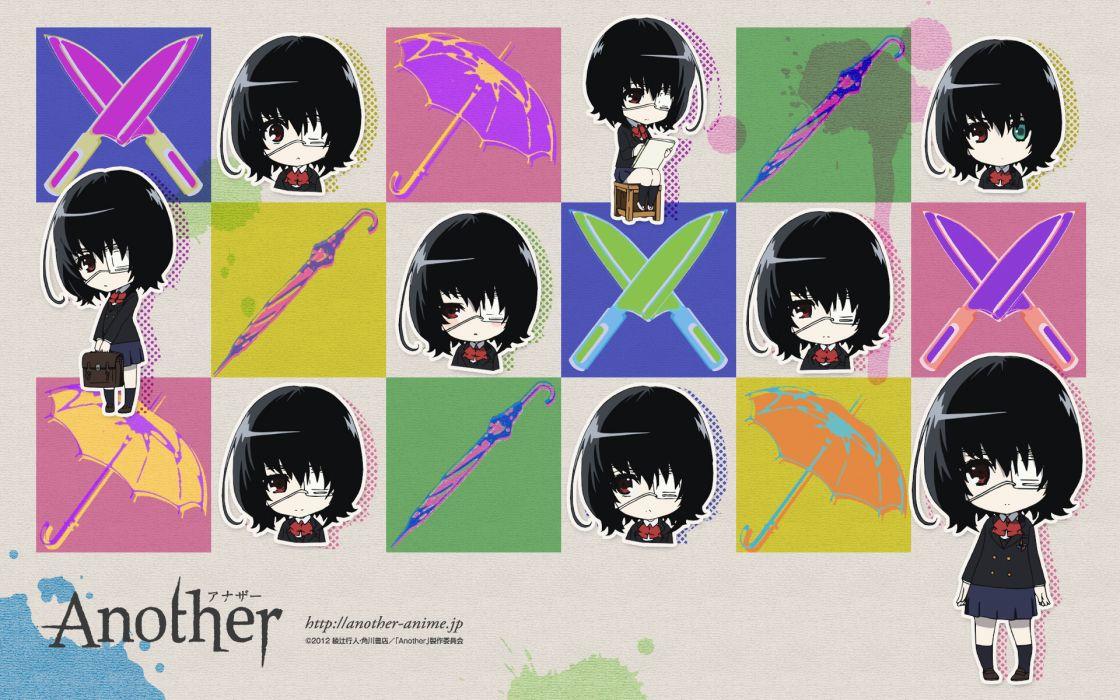 another black hair chibi eyepatch knife misaki mei red eyes seifuku short hair umbrella wallpaper
