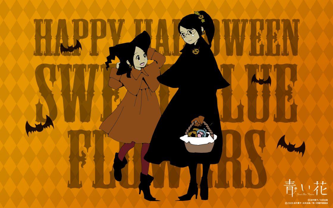 aoi hana black eyes black hair glasses halloween wallpaper