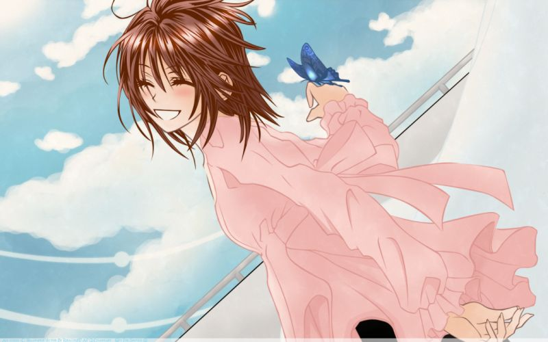 aoi kiseki brown hair butterfly clouds short hair sky wallpaper