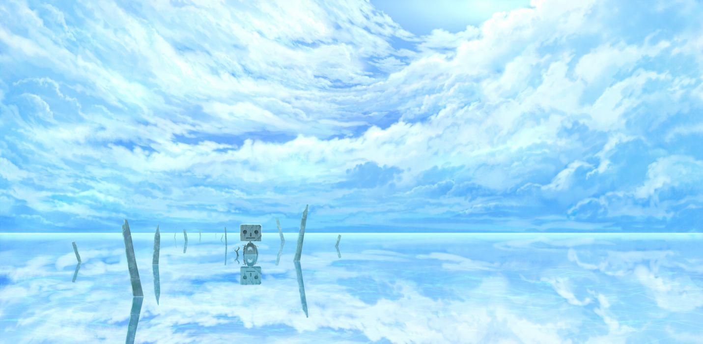 original clouds hotaka original robot scenic sky water reflection wallpaper