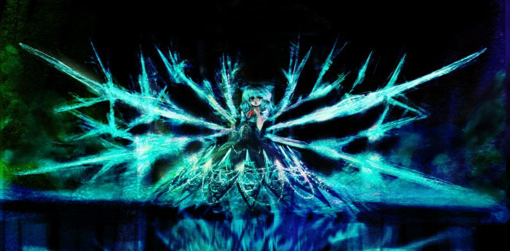 touhou blue eyes blue hair bow cirno dress wings wallpaper
