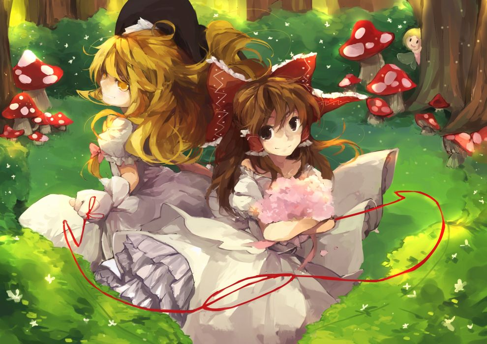 touhou girls blonde hair bow brown eyes brown hair dress flowers forest hakurei reimu hat kirisame marisa ribbons shuzi touhou yellow eyes wallpaper