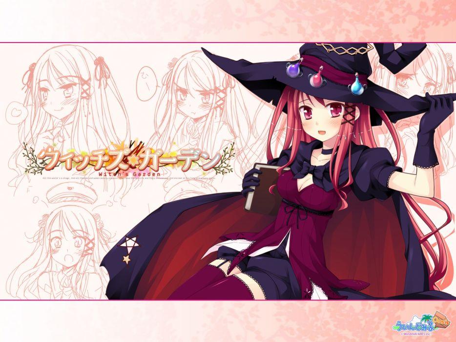 witchs garden blush book cleavage hat hinomiya ayari ko~cha stockings thighhighs witch witch's garden wallpaper