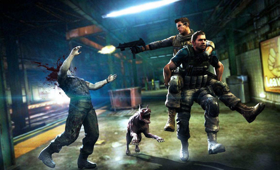 Resident Evil 6 Zombie Men Games dark blood wallpaper