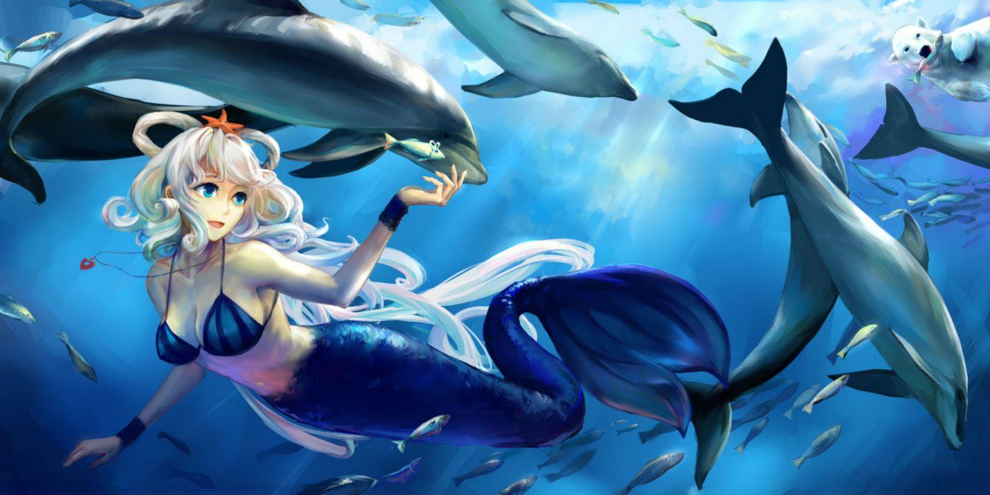 vocaloid animal bikini top dolphin fish jiaoshouwen luo tianyi mermaid necklace underwater vocaloid wallpaper