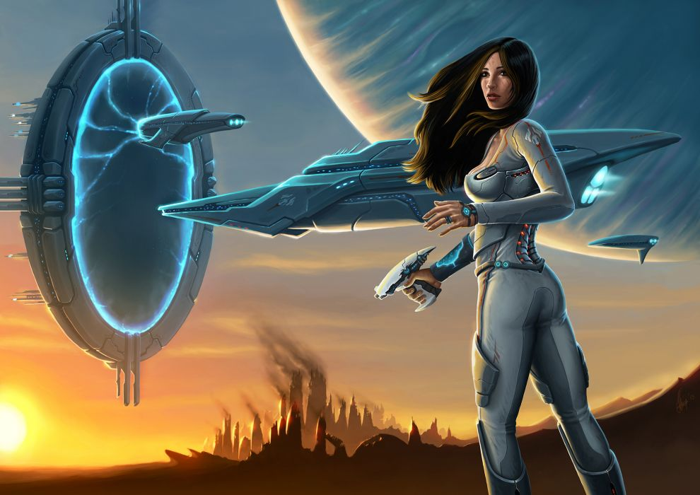 Warriors Ships teleport Fantasy Girls Space warrior spaceship spacecraft sci-fi wallpaper