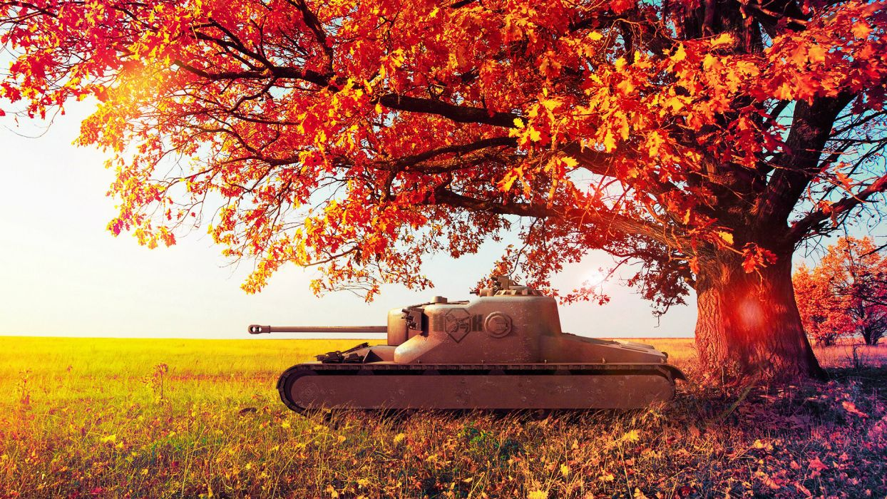 World of Tanks Autumn AT-15A Trees Foliage Games military wallpaper