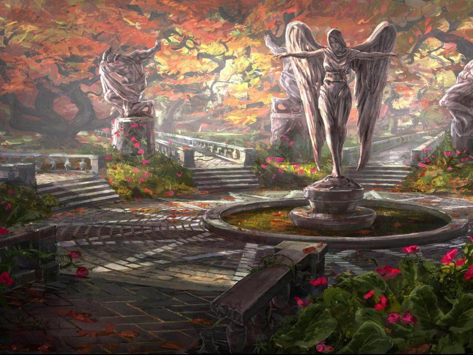 architecture statue angel angels garden flowers flower autumn mood wallpaper