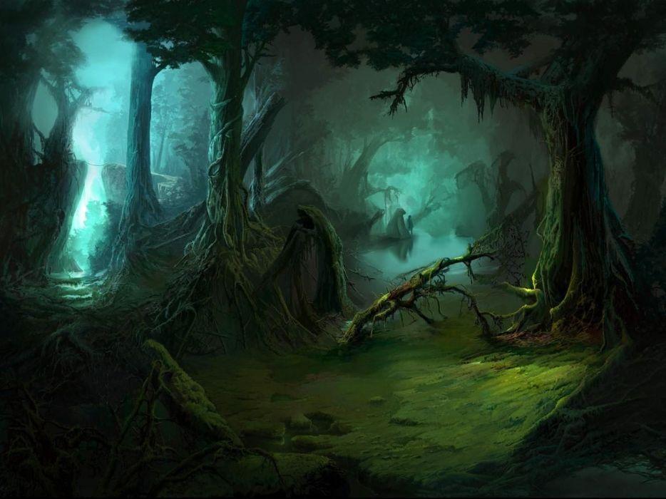 bear bears dark forest jungle mood landscape fantasy wallpaper