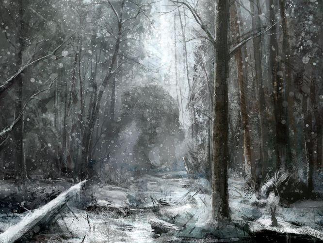 Fantasy monster monsters creature winter snow forest tree dark wallpaper
