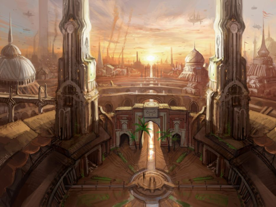 fantasy sci-fi steampunk city cities sunset wallpaper