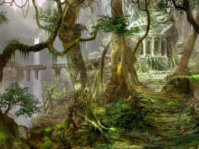 ruins ruin decay jungle forest architecture trees waterfall wallpaper