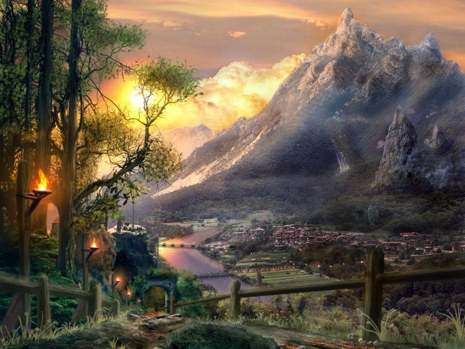 world Fantasy city sunset mountain river wallpaper