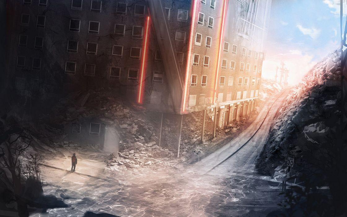 apocalyptic sci-fi dark ruins destruction mood wallpaper