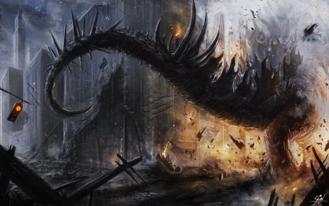 Godzilla Tail apocalyptic dragon dragons dinosaur sci-fi dark wallpaper
