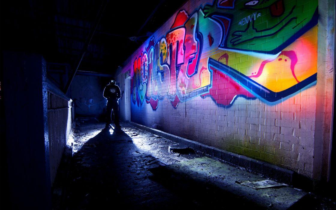 graffiti brick wall urban art color night psychedelic dark anarchy wallpaper
