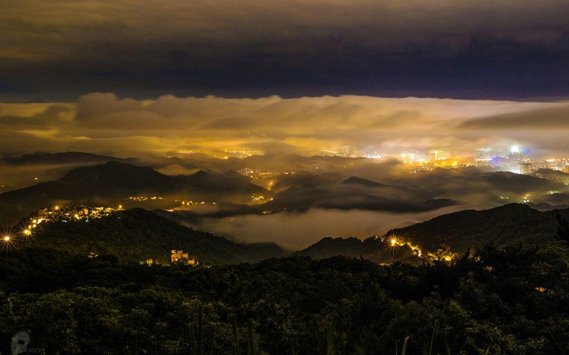 Landscape Night fog mist night lights sky city wallpaper