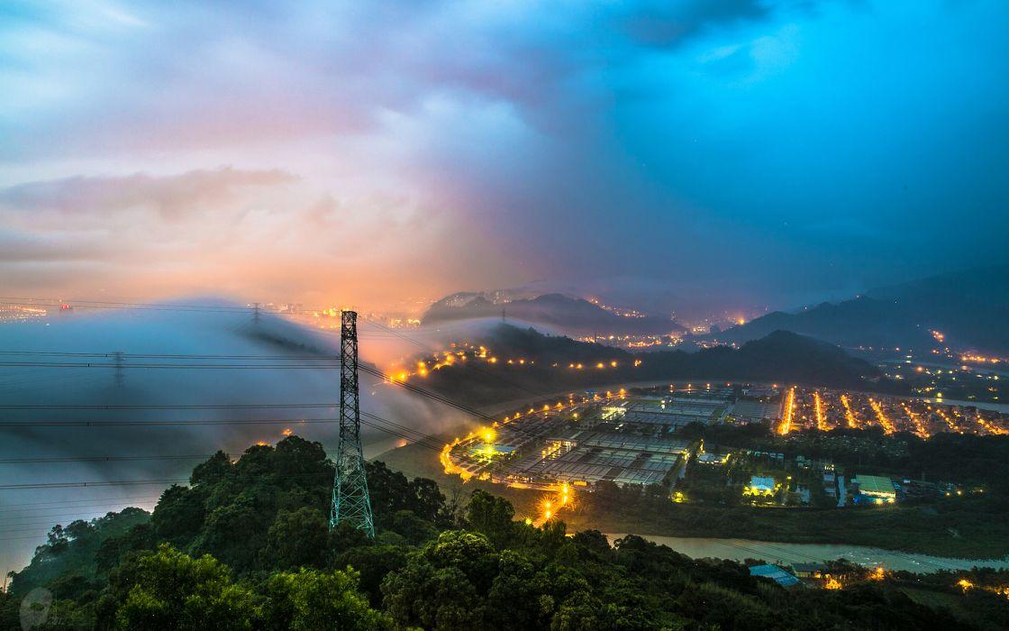 Mist Landscape fog lights sky clouds wallpaper