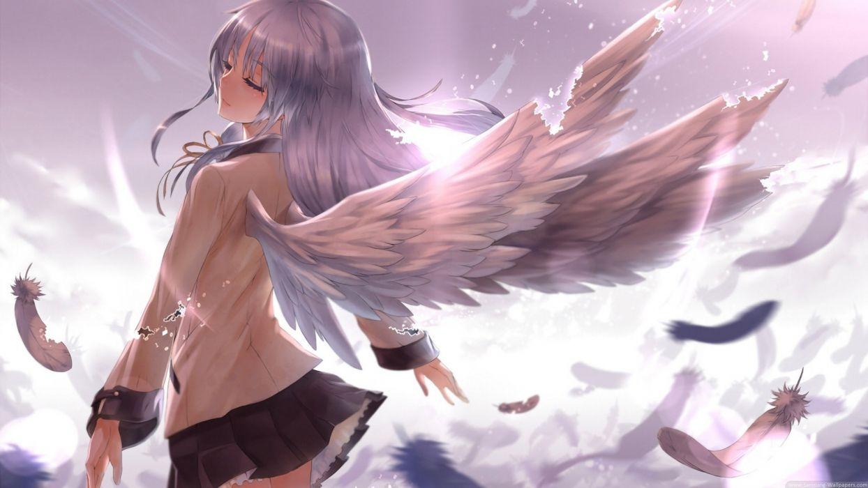 original Light Feathers Purple wings girl girls wallpaper