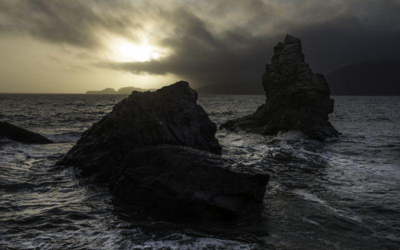 Ocean Rocks sea sky sunrise sunset wallpaper