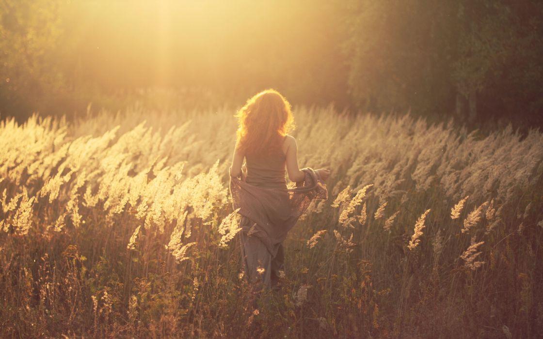 Redhead Back women mood warm sunlight field wallpaper