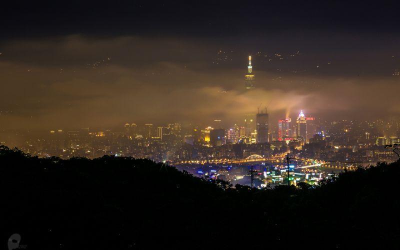 Skyscrapers Night Fog Mist Skyscraper night lights taiwan d wallpaper