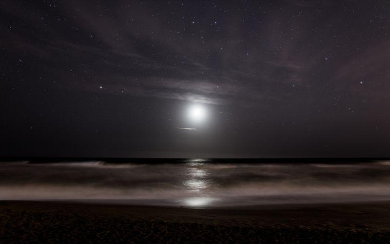 Stars Moonlight Ocean sea reflection sky waves beach night wallpaper