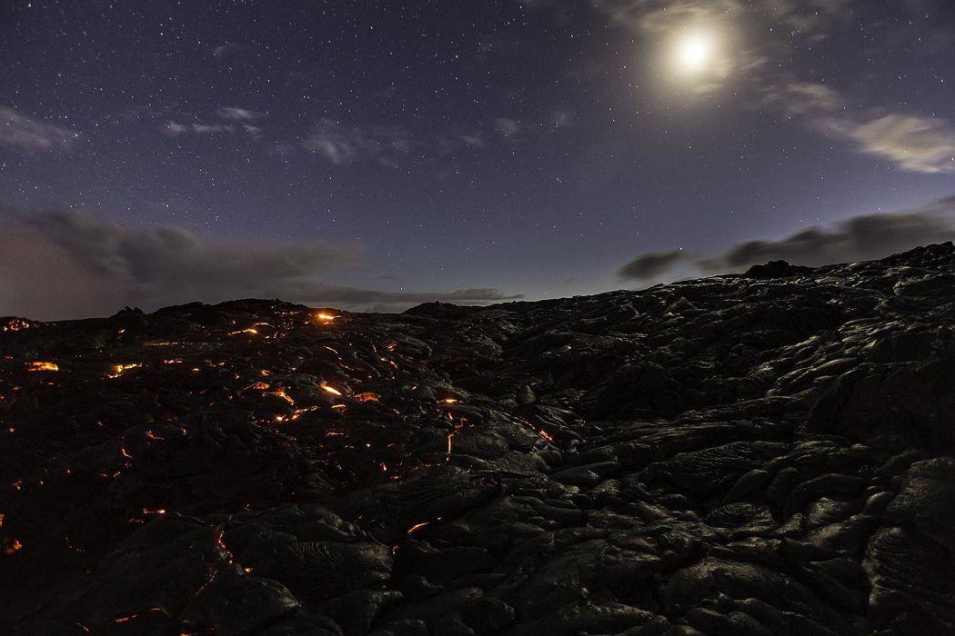 Stone Night Moonlight Stars lava volcano wallpaper