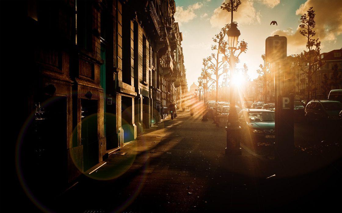 Sunlight Sidewalk urban city road street wallpaper