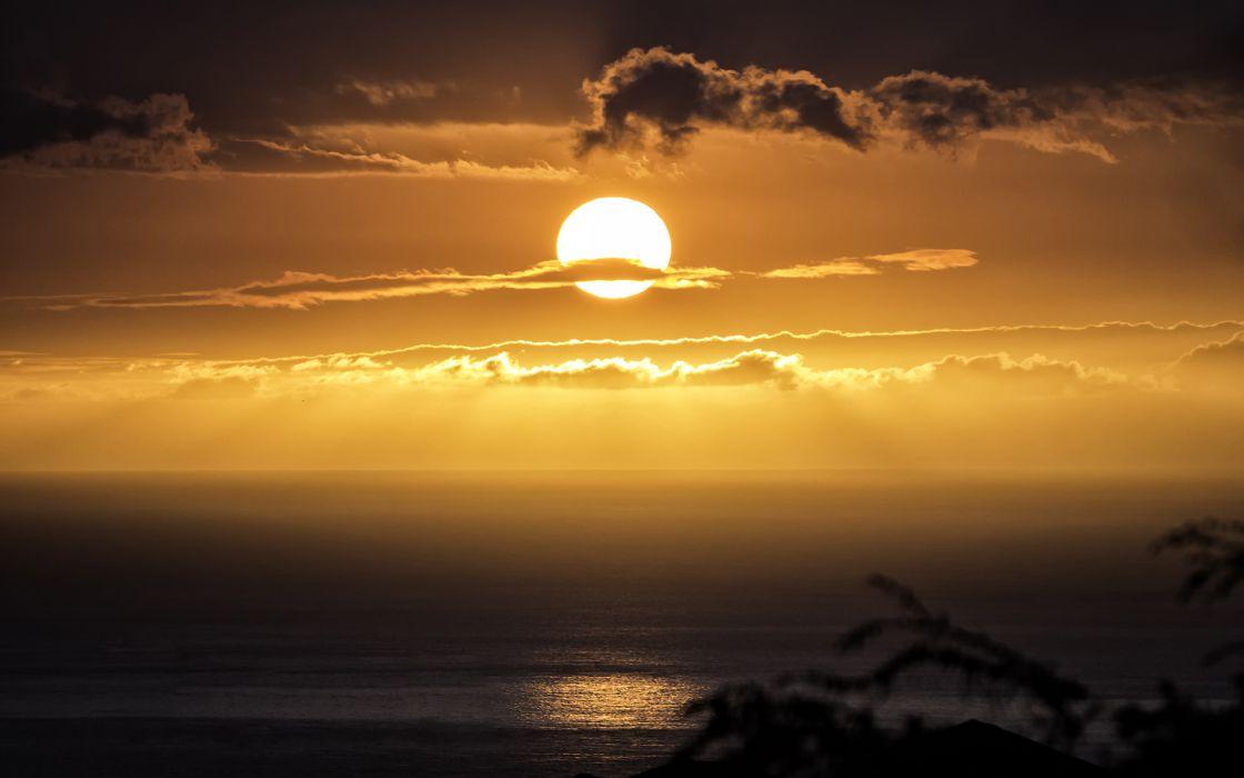 Sunlight Sun sunset ocean sea mood reflection sky clouds fire wallpaper