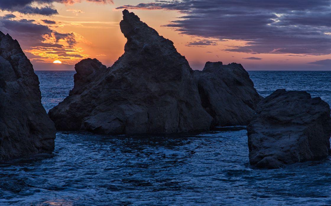 Sunset Rocks ocean sea sky wallpaper