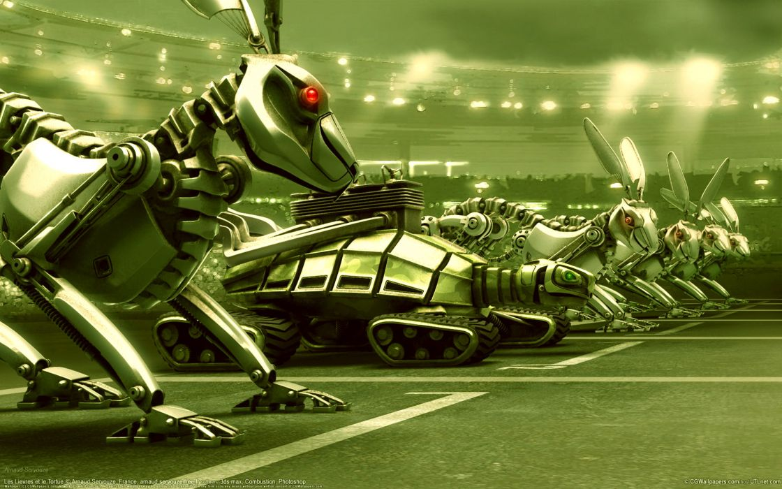 Turtle Race Robots Machines robot humor funny steampunk wallpaper