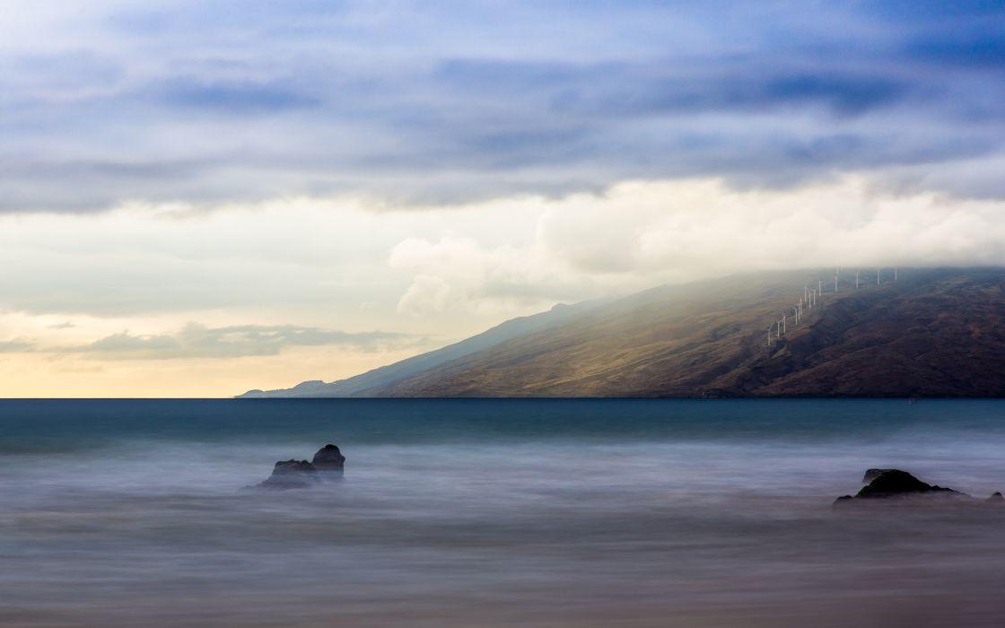 Windmill Landscape ocean sea timelapse exposure sky wallpaper