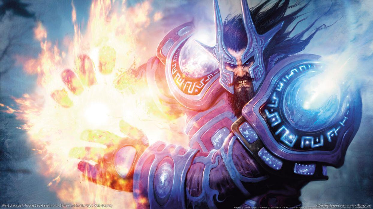 World of Warcraft WOW fantasy warrior warriors knight fire magic wallpaper
