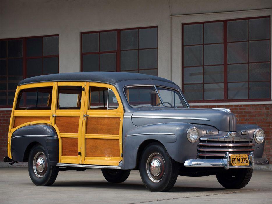 1947 Ford Super Deluxe StationWagon retro      f wallpaper